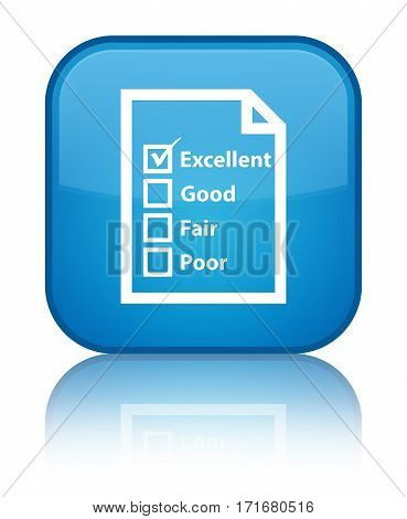 Questionnaire Icon Shiny Cyan Blue Square Button