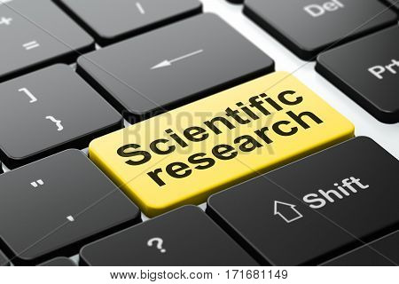 Science concept: computer keyboard with word Scientific Research, selected focus on enter button background, 3D rendering