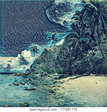 Digital illustration - The tropical island. Palm trees on the beach. Orient etching style image of tropic island. Exotic nature landscape. Mountain descending to the sea. Dark cloudy sky.
