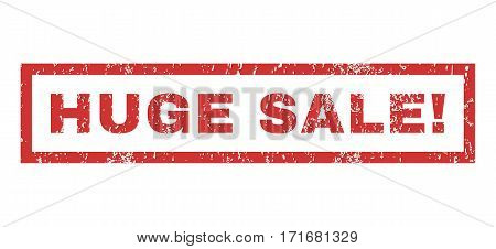 Huge Sale exclamation text rubber seal stamp watermark. Tag inside rectangular banner with grunge design and scratched texture. Horizontal vector red ink sticker on a white background.