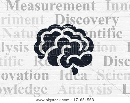 Science concept: Painted black Brain icon on White Brick wall background with  Tag Cloud