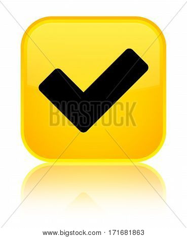 Validate Icon Shiny Yellow Square Button