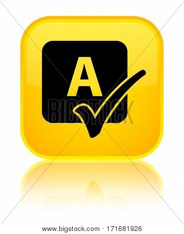 Spell Check Icon Shiny Yellow Square Button