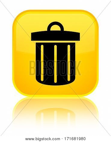 Recycle Bin Icon Shiny Yellow Square Button