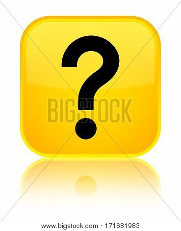 Question Mark Icon Shiny Yellow Square Button