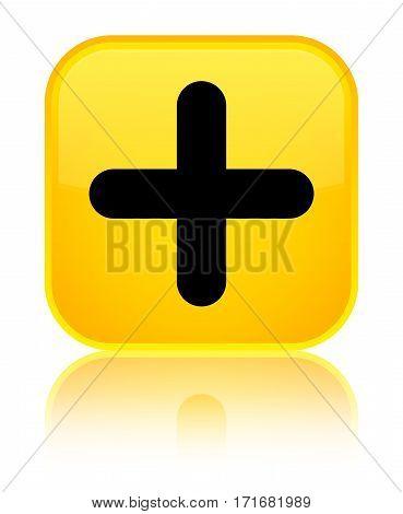 Plus Icon Shiny Yellow Square Button
