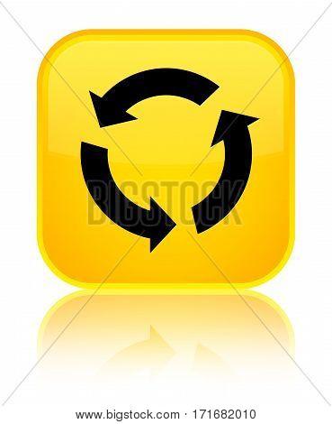 Refresh Icon Shiny Yellow Square Button