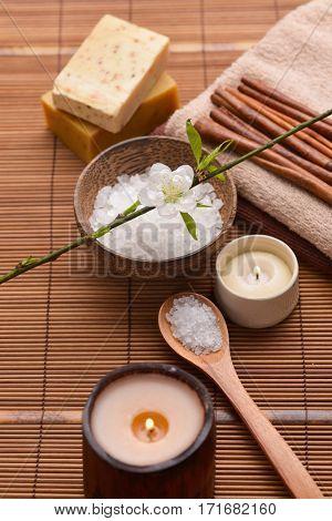 Composition of bath tropical spa treatment on mat