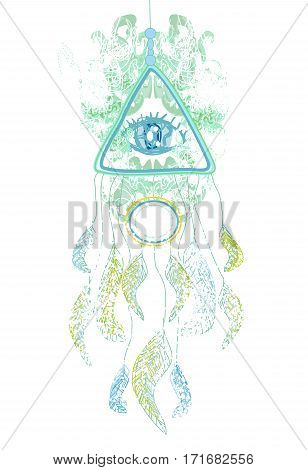 American Indian talisman dreamcatcher with eye , vector illustration