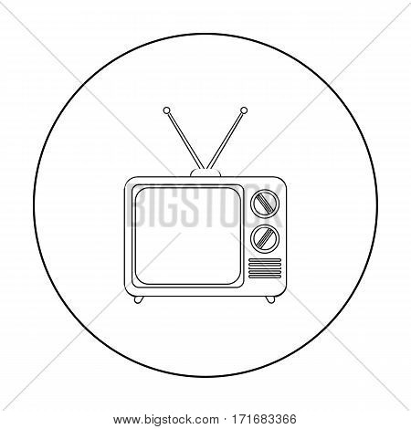 Television advertising icon in outline style isolated on white background. Advertising symbol vector illustration.