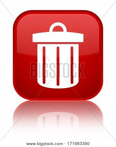 Recycle Bin Icon Shiny Red Square Button