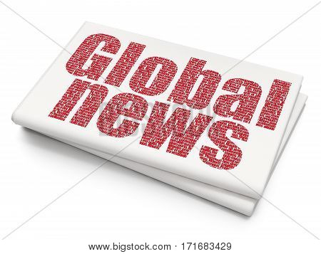 News concept: Pixelated red text Global News on Blank Newspaper background, 3D rendering