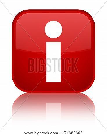 Info Icon Shiny Red Square Button