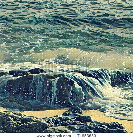 Digital illustration - The wave and stone beach landscape in cold color palette. Ocean view with wave crests. Water flow over beach rock. Tropical island seascape. Summer travel card in orient style