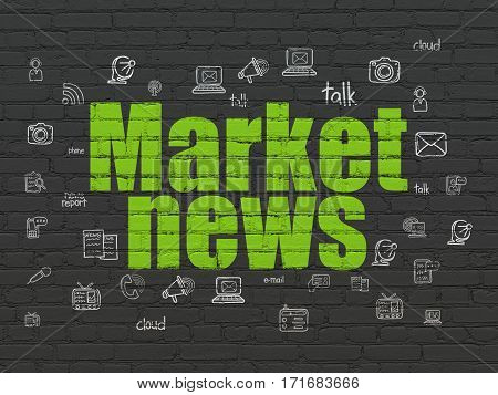 News concept: Painted green text Market News on Black Brick wall background with  Hand Drawn News Icons