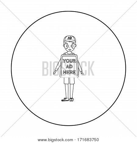 Human billboard icon in outline style isolated on white background. Advertising symbol vector illustration.