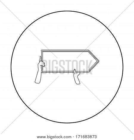 Directional billboard icon in outline style isolated on white background. Advertising symbol vector illustration.