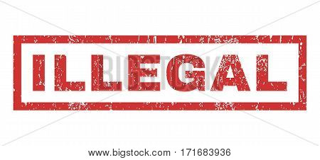 Illegal text rubber seal stamp watermark. Tag inside rectangular shape with grunge design and unclean texture. Horizontal vector red ink sign on a white background.