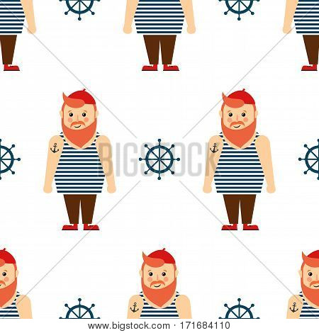 Cute nautical pattern with bearded sailor and steering wheel. Navy vector seamless background. Baby style design for textile, wallpaper, fabric.