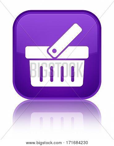 Shopping Cart Icon Shiny Purple Square Button