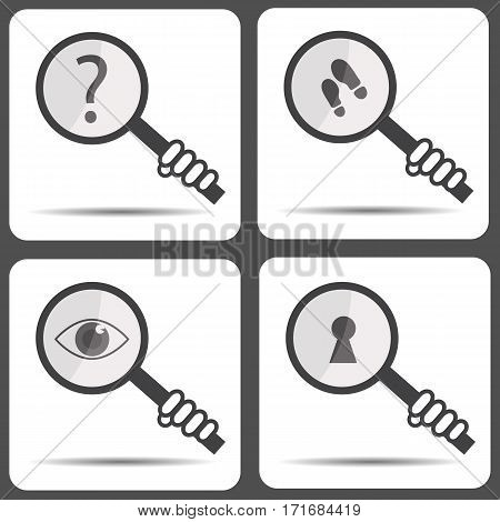 Set icons with a magnifying glass. Detective icon.