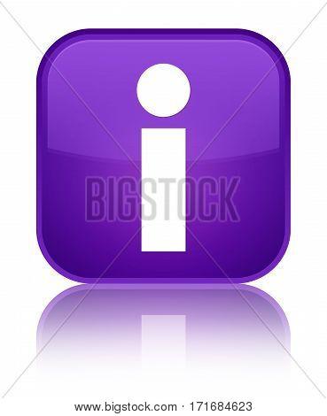 Info Icon Shiny Purple Square Button