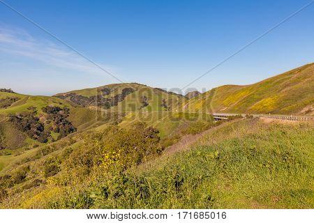 the scenic California coastal mountains in spring