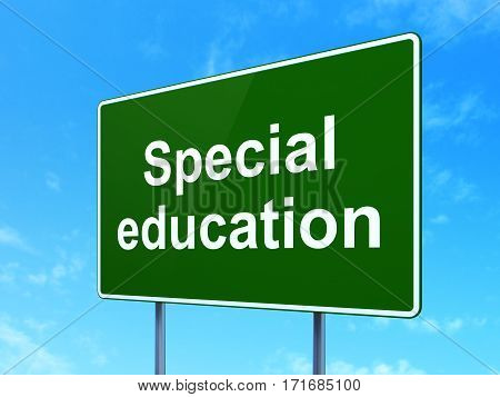 Studying concept: Special Education on green road highway sign, clear blue sky background, 3D rendering