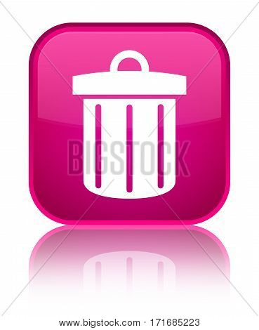 Recycle Bin Icon Shiny Pink Square Button