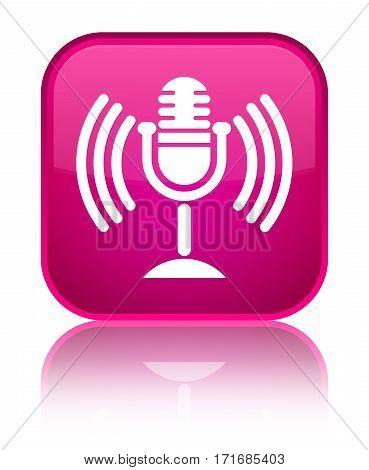 Mic Icon Shiny Pink Square Button