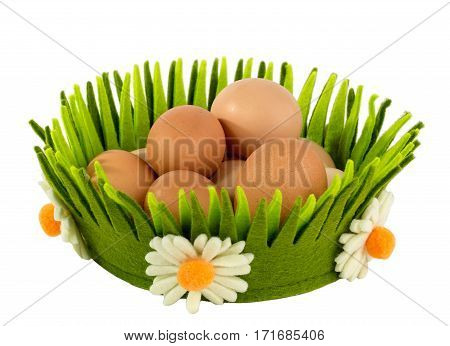 Eggs basket breakfast green object easter isolated