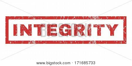 Integrity text rubber seal stamp watermark. Caption inside rectangular shape with grunge design and dirty texture. Horizontal vector red ink sign on a white background.