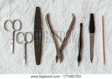 Close-up of professional nail care tools for manicure
