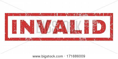 Invalid text rubber seal stamp watermark. Tag inside rectangular shape with grunge design and dust texture. Horizontal vector red ink emblem on a white background.
