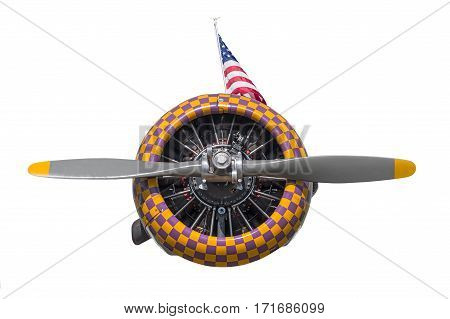Purple and Yellow Check AT-6 Texan Engine and Propeller with flag - isolated on white