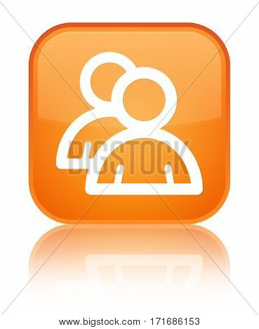 Group Icon Shiny Orange Square Button