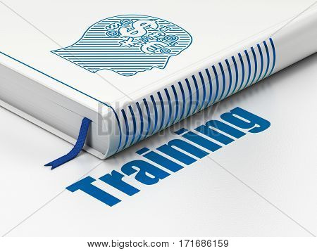 Studying concept: closed book with Blue Head With Finance Symbol icon and text Training on floor, white background, 3D rendering