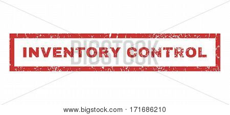 Inventory Control text rubber seal stamp watermark. Caption inside rectangular shape with grunge design and unclean texture. Horizontal vector red ink sign on a white background.