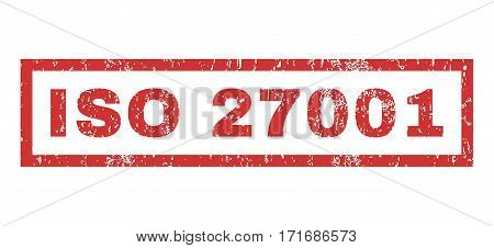 ISO 27001 text rubber seal stamp watermark. Caption inside rectangular shape with grunge design and scratched texture. Horizontal vector red ink sign on a white background.