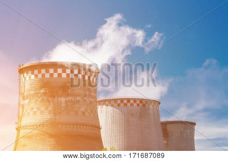 Working thermal power station with smoke in Moscow Russia
