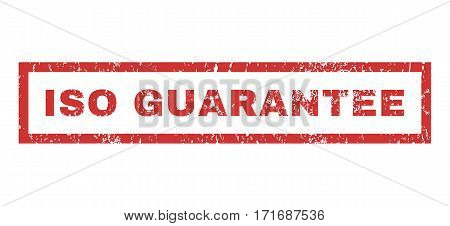 ISO Guarantee text rubber seal stamp watermark. Tag inside rectangular shape with grunge design and unclean texture. Horizontal vector red ink sticker on a white background.