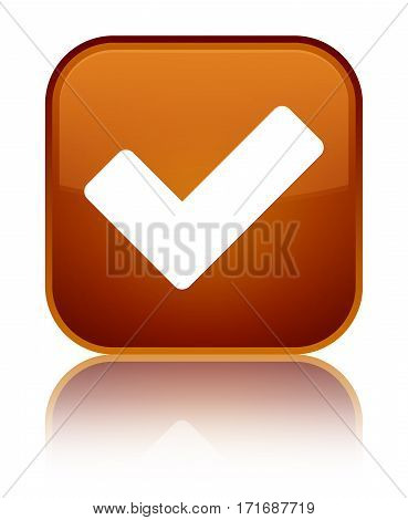 Validate Icon Shiny Brown Square Button