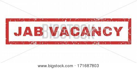 Jab Vacancy text rubber seal stamp watermark. Tag inside rectangular shape with grunge design and unclean texture. Horizontal vector red ink sticker on a white background.