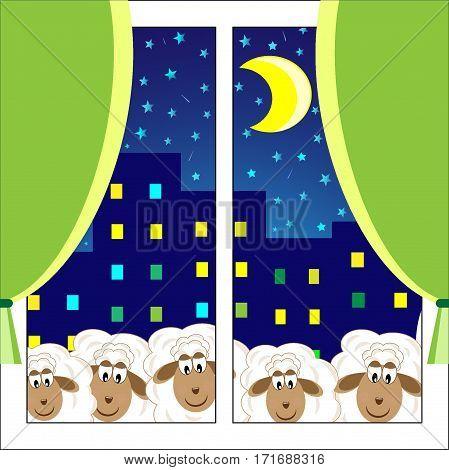 lamb in the window Children's design vector illustration
