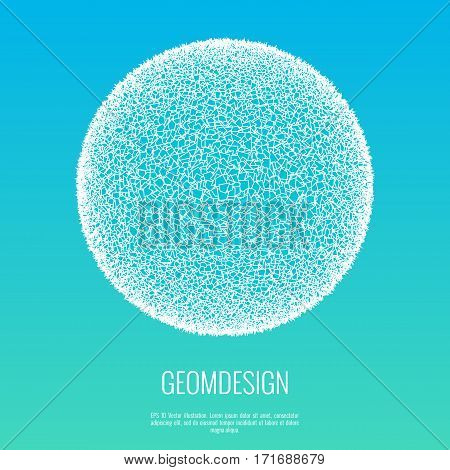 Destructed 3d ball. Sphere consists of polygonal particles. Design element for business, science technical presentation. Vector illustration.