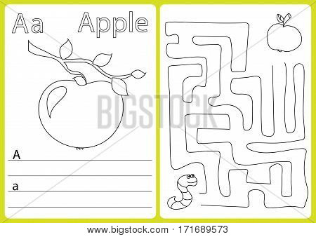 Alphabet A-Z - puzzle Worksheet, Exercises for kids - Coloring book - illustration and vector outline