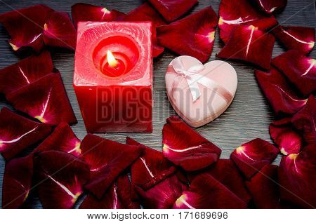 Candle, Red  Petal Rose With Gift Box On Table. Valentine Concept Background