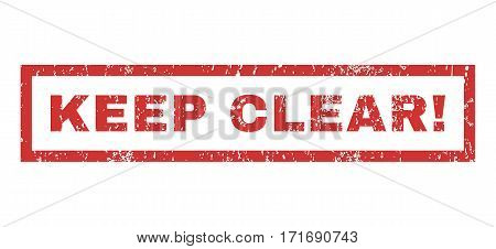 Keep Clear exclamation text rubber seal stamp watermark. Tag inside rectangular banner with grunge design and dirty texture. Horizontal vector red ink sticker on a white background.