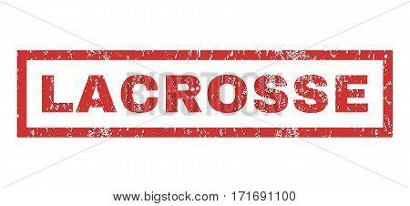 Lacrosse text rubber seal stamp watermark. Caption inside rectangular banner with grunge design and dirty texture. Horizontal vector red ink sticker on a white background.