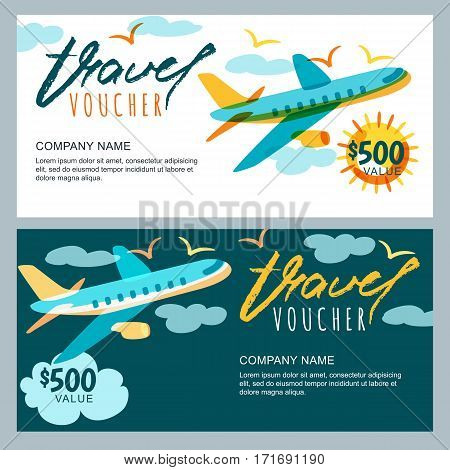 Vector Gift Travel Voucher. Multicolor Airplane In The Sky. Coupon, Certificate, Flyer, Layout.